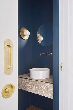 miriam barrio redesigns apartment in barcelona with golden details and bright colors Amazing Bathrooms, Diy Bathroom Remodel, Bathroom Interior Design, Bathroom Furniture, Bathroom Mirror, Diy Bathroom, Round Mirror Bathroom, Diy Bathroom Design, Amazing Bathroom Remodels