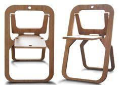 Another great solution for small spaces, designed by Christian Desile, the Desile Folding Chair is is less than an inch thick when closed. The chair when closed can be hang on a wall providing a nice graphic interest to a space. Folding Furniture, Folding Chair, Chair Design, Furniture Design, Metal Bistro Chairs, Plywood Chair, Foldable Chairs, Wrought Iron Patio Chairs, Eames Chairs