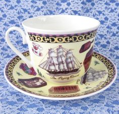 Tea Roy Kirkham Breakfast Size Cup And Saucer English Bone China New Flying Cloud