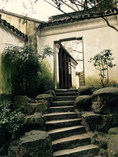 A door on a partition wall in a Suzhou garden residence