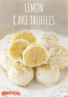 Recipe Easy and delicious, this dessert recipe for Lemon Cake Truffles is the ideal sweet treat to make for any occasion. These beauties dipped in white chocolate are perfect for birthday parties, baby showers, wedding showers, and the holidaysbecause you Brownie Desserts, Bite Size Desserts, Lemon Desserts, Lemon Recipes, Baking Recipes, Delicious Desserts, Yummy Food, Delicious Chocolate, White Desserts
