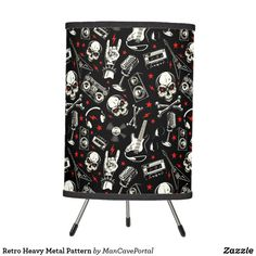 Retro Heavy Metal Pattern Tripod Lamp Decorative Lamps, Linen Lamp Shades, Incandescent Light Bulb, Tripod Lamp, Rice Paper, Heavy Metal, Portal, Keep It Cleaner, Colorful Backgrounds