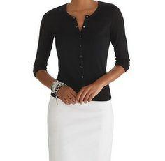 black cardigan looks so sharp over white for summer   white house black market