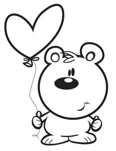 Bear with Heart - Free Printable Coloring Pages
