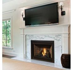 Manteau foyer BTU Built-In Direct Vent Natural Gas Fireplace with Safety Barrier and Electric Ignition from the Ascent Series Direct Vent Gas Fireplace, Vented Gas Fireplace, Natural Gas Fireplace, Home Fireplace, Fireplace Remodel, Fireplace Surrounds, Fireplace Design, Fireplace Ideas, Gas Fireplaces