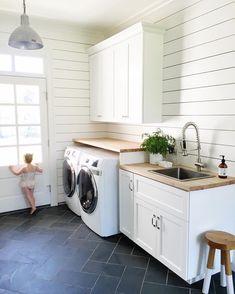 Laundry room dark tile & white shiplap    www.studio-mcgee.com    Barn Light Electric Wesco Pendant <3