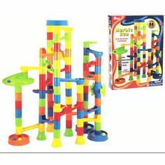 $26.99 - Our marble run has kids on a roll.• Kids love building blocks; Kids love marble mazes. • Put them together...and watch your child?s creativity accelerate!• Our 55-piece set includes everything needed to make all kinds of amazing mazes.Includes:•  Columns• Curved ramps• Straight rails• Half tunnels•  Paddle wheels• Marbles, and more. An effortless way to build dexterity and mechanical skills. Lost your marbles? We have more here!