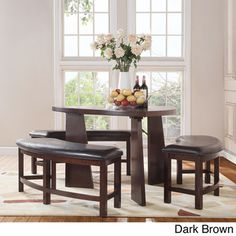 TRIBECCA HOME Paradise Merlot Triangle Shaped 4-piece Dining Set | Overstock.com Shopping - The Best Deals on Dining Sets