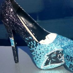 Panther Nation high heel shoes I custom design each shoe to order. Please let me know the size and message me for more information on prices. Each Diamond is place one at a time by hand. You will not find these anywhere! Shoes Heels