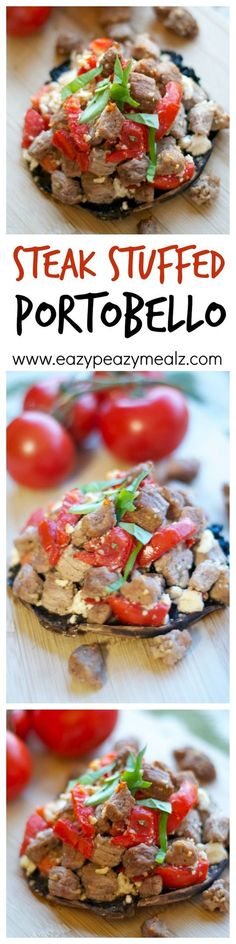 A portobello mushroom stuffed with flavorful steak, tomato, feta, and spices! Super QUICK and EASY to make, and packed with flavor. - Eazy Peazy Mealz