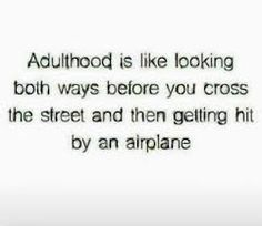 Adulthood is like looking both ways before you cross the street and then getting hit by an airplane.