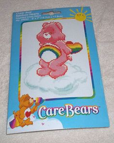 "NIP Care Bears Counted Cross Stitch Kit | Cheer Bear Rainbow Hearts | 5""x7"""