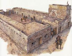 Spain / Battles, Knights..Los Dragones de Cuera. Regimientos creados a finales del siglo XVI. Estas unidades especial de caballería existió hasta el año 1821. Se les encomendó la custodia de la frontera norte de la Nueva España, que llegó a incluir Texas, Arizona, Nuevo Méjico, gran parte de California y algunas zonas de Colorado, Utah y Nevada. - Presidio de Tubac (Arizona)