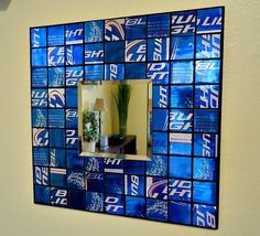 Mosaic Mirror from Recycled Beer Cans - Royal Blue - Man Cave - (minus the bud light. Maybe with coasters) via Etsy. Def Not, My Sun And Stars, Woman Cave, Looks Cool, Game Room, Repurposed, Recycled Cans, Home Projects, A Table
