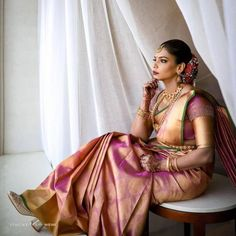Offbeat Kanjeevaram Sarees For Gorgeous South Indian Brides! - - Bookmark These Offbeat Kanjeevaram Sarees For A Stunning And Glamorous Bridal Look. For more such information, stay tuned with shaadiwish. South Indian Bridal Jewellery, Indian Bridal Sarees, Indian Wedding Wear, Tamil Wedding, South Indian Weddings, Indian Bridal Makeup, Punjabi Wedding, Indian Wear, South Indian Blouse Designs