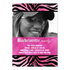 Zebra Feather Bachelorette Party Pink Invitation