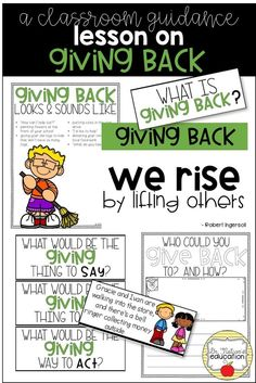 A classroom guidance resource on giving back and volunteerism. Elementary School Counselor, School Counseling, Elementary Schools, Teaching Character, Character Education, Kindness Activities, Nursing Mnemonics, Social Skills Activities, School Social Work