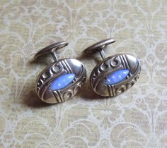 Antique Victorian Repousse Cufflinks Inlaid with by MiladyLinden