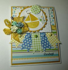 Baby Boy Good Wishes Handmade Card by LoveInBloomCreations on Etsy, $3.25