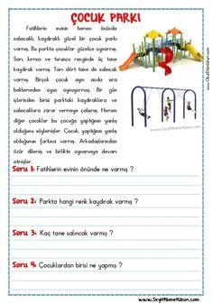 OKUMA ANLAMA METNİ – ÇOCUK PARKI OKUMA ANLAMA METNİ – ÇOCUK PARKI – Okuma anlama metni Özgün bir çalışma olarak pdf formatında hazırlanmıştır. Sitede bulunan.. Learn Turkish, Turkish Language, Preschool Education, Classroom Rules, Learning Arabic, Reading Passages, Stories For Kids, Grade 1, Worksheets