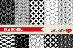 Black and White OrientalBackground Patterns:: Graphicswith quatrefoil, scales and stars. You get 10 High Quality Sheets::JPG files inLetter and A4 size with300 dpi jpg, for perfect printing or digital use. These have so many uses, they are great for scrapbooking, crafts, party decor, DIY projects, blogs, stationery& more. All patterns are original and copyrighted by All is Full of Love