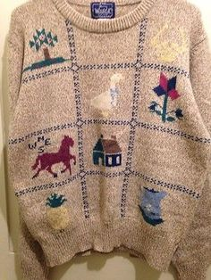 Woolrich Woman Womens Sweater Horse Goose Pineapple House Flower Tree Size L