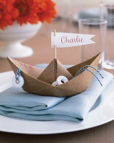 Paper-Boat Place Card-I just tried this to make sure it works and it isn't too hard for the younger cherubs.  Wonderful outcome!!