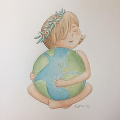 One world. That's all we have.   Two years ago I created a picture like this. Recent world events have moved me to rework it. I can't begin to express how much I wish we could all live in peace, no matter what our race, language, or faith.   #watercolor #watercolour #illustration #art #kidlitart #whimsyillos #sketch #love #oneworld #peace #loveeachother