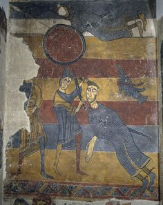 Frescos of Santa Maria de Taüll.Unknown Romanesque Painter, Catalan (active in Catalonia) The Fight between David and Goliath. Religious Images, Religious Icons, Religious Art, Fresco, Tempera, Romanesque Art, Google Art Project, Carolingian, David And Goliath