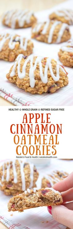 Soft and chewy Apple Cinnamon Oatmeal Cookies, perfect high-fiber breakfast or snack. These cookies are very nutritious, made with all HEALTHY ingredients and refined sugar-free. #cookie #breakfast #kidssnack #snack #school #healthy #wholegrain #sugarfree #fall #summer #apple | www.natalieshealth.com