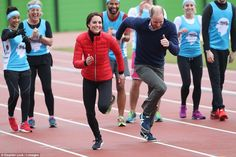 The Duke and Duchess of Cambridge went head to head in a race this afternoon as they took part in a training day for the London Marathon at the Queen Elizabeth Olympic Park (QEOP) in London