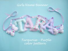 Fabric letters name banner with butterflies,PURPLE - TURQUOISE color pattern,Nursery decor, 2 butterflies ornaments are for Free Fabric Letters, Fabric Names, Butterfly Ornaments, Nursery Patterns, Fabric Butterfly, Name Wall Art, Turquoise And Purple, Name Banners, Newborn Baby Gifts