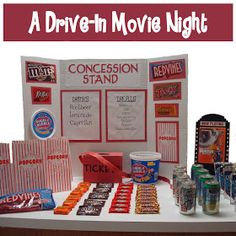 Homemaking Fun: A Drive-In Movie Night - each child gets play $ for a ticket & snacks, decorates their box car and watches the movie. Great birthday idea.