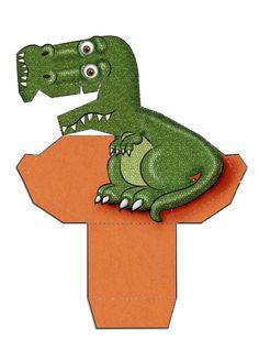 Dinossauro Verde 3D de Papel que Mexe a Cabeça