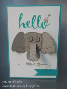 Stampin' Sacha - Stampin' Up! - Playful Pals - Occasions Catalogue - Hello - Sale-A-Bration - 2016 - birthday card