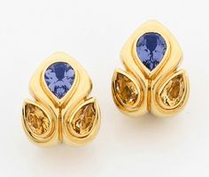 A pair of tanzanite, citrine and 18K gold ear clips by René Boivin.