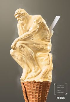 """Brazilian ad agency PPM, together with Estudio Gelmi, came up with this mouthwatering campaign for Habib's handmade ice cream called """"Esculturas de Sorvetes""""(Ice cream Sculpture). Three posters show ice cream… Clever Advertising, Advertising Poster, Advertising Campaign, Ads Creative, Creative Posters, Handmade Ice Cream, Famous Sculptures, Plakat Design, Ice Cream Flavors"""