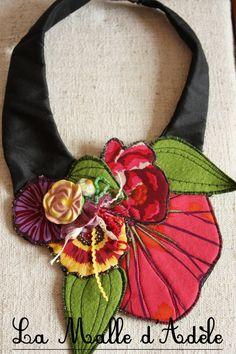 Collier plastron textile jardin printemps 01