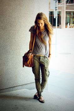 Skinny cargoes and a slouchy tee.