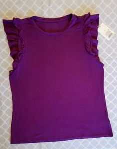 3dd90c0513a Details about NWT WOMEN S Size SMALL BLOUSE Purple TOP RUFFLE CAP SLEEVES  Shirt by A NEW DAY