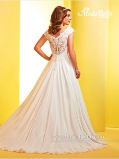 Ultra beautiful chiffon gown with a lace neckline and illusion back. Perfect for any wedding from the beach to a formal church. Available in white or ivory in sizes Fantasy Wedding Dresses, Bridal Wedding Dresses, White Wedding Dresses, Wedding Gown Gallery, Mary's Bridal, A Line Gown, Chiffon Gown, Beautiful Gowns, Wedding Ideas