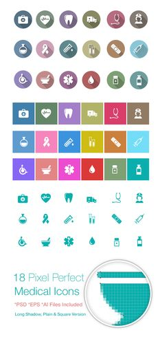 Freebie: Medical Icon Pack A beautiful Medical Icon Pack for free download. The icons are in AI, EPS and PSD format, pixel-perfect, with lovely flat colours, long shadows and in a clean square version.