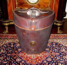 victorian hat boxes   Antique Vintage Victorian Double Top Hat Box English Leather Case w ...