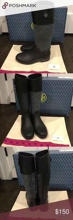 Authentic Tory Burch Marion Rain Boots 8 These are authentic preowned Tory Burch Marion Rain Boots size 8.  They do have white powdery marks, which is normal for high quality leather, and also removable with rain boot cleaner.  These are in excellent and clean condition and comes with the box and dust bag. Tory Burch Shoes Winter & Rain Boots