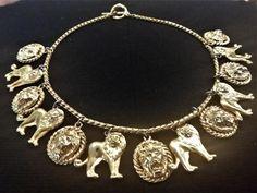Anne Klein, Vintage Jewellery, Lion, Gold Necklace, Charmed, Diamond, Pendant, Unique