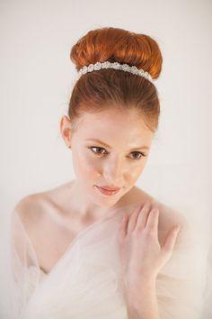 GRASP rhinestones, headband, headpiece, bridal, ribbon, wedding, bride, hair accessory, bridesmaid, hair bun