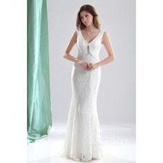 Hot Sale Sheath-Column V-Neck Sweep-Brush Train Lace Wedding Dress CWLT13052