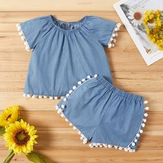 Baby / Toddler Pompon Decor Denim Top and Shorts Set Frock Design, Baby Dress Design, Newborn Girl Outfits, Little Girl Outfits, Kids Outfits, Baby Girl Dress Patterns, Baby Clothes Patterns, Stylish Dresses For Girls, Dresses Kids Girl