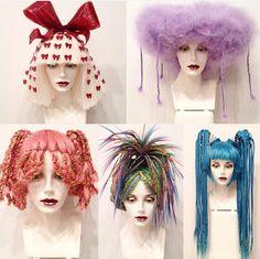 Purple ones kinda cool Creative Hairstyles, Diy Hairstyles, Hair Inspo, Hair Inspiration, Drag Wigs, Hair Arrange, Hair Reference, Wig Styles, Crazy Hair