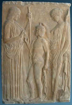 The Eleusinian trio: Persephone, Triptolemus and Demeter on a marble bas-relief from Eleusis. National Archaeological Museum of Athens Ancient Greek Art, Ancient Rome, Ancient Greece, Greek History, Ancient History, Art History, Ancient Mysteries, Ancient Artifacts, Persephone